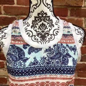 B Jewel Tops - B JEWEL Crew Neck Paisley Flower Sleeveless Top